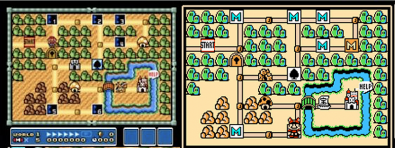On the left, it's all grey—Mario's got a lot of work ahead of him, and he doesn't yet know what his path will look like. On the right, he's figured out the way forward. Bet he learned a lot along the way, too.